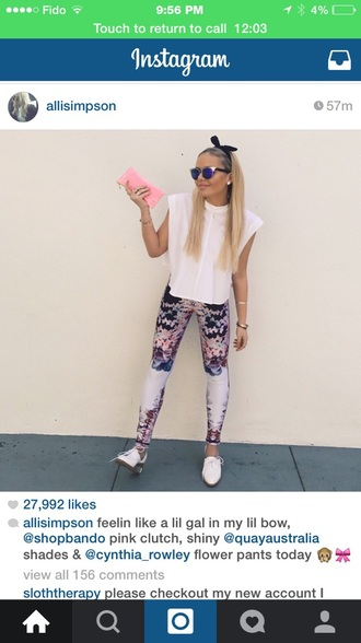 headband alli simpson t-shirt sunglasses hair accessory pants blouse shoes bag jewels