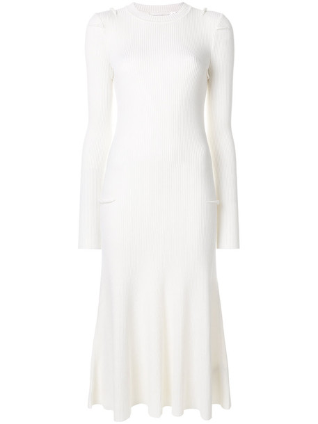 Victoria Beckham dress flare dress flare women white wool knit