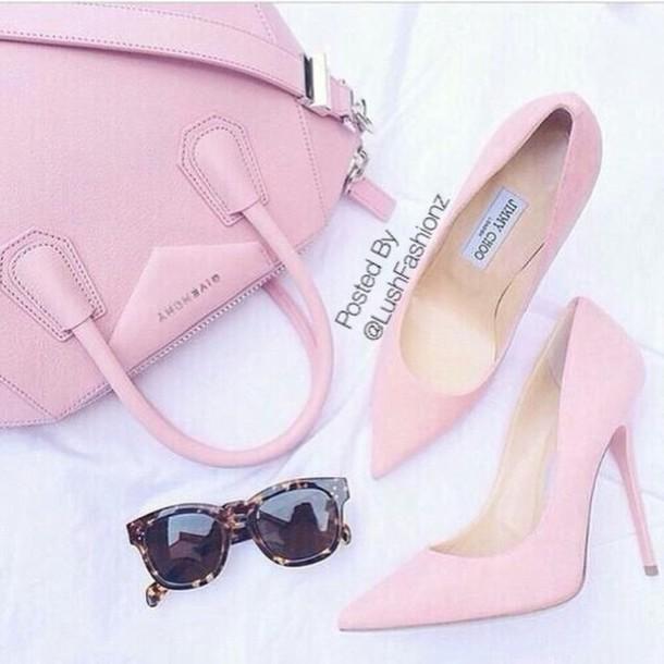bag pink givenchy jimmy choo pink shoes glasses pink