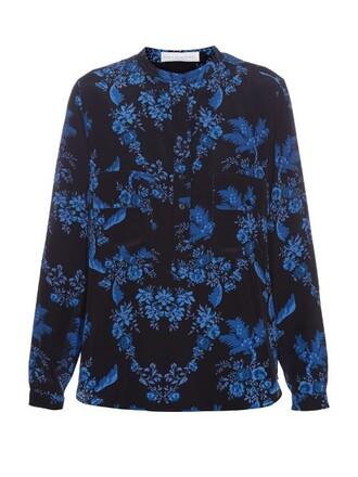 shirt collar shirt floral print black top