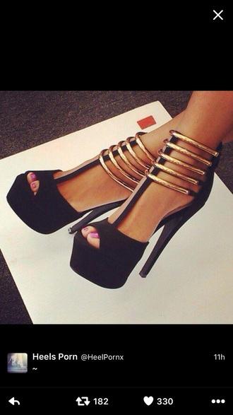 shoes black heels peep toe pumps platform pumps