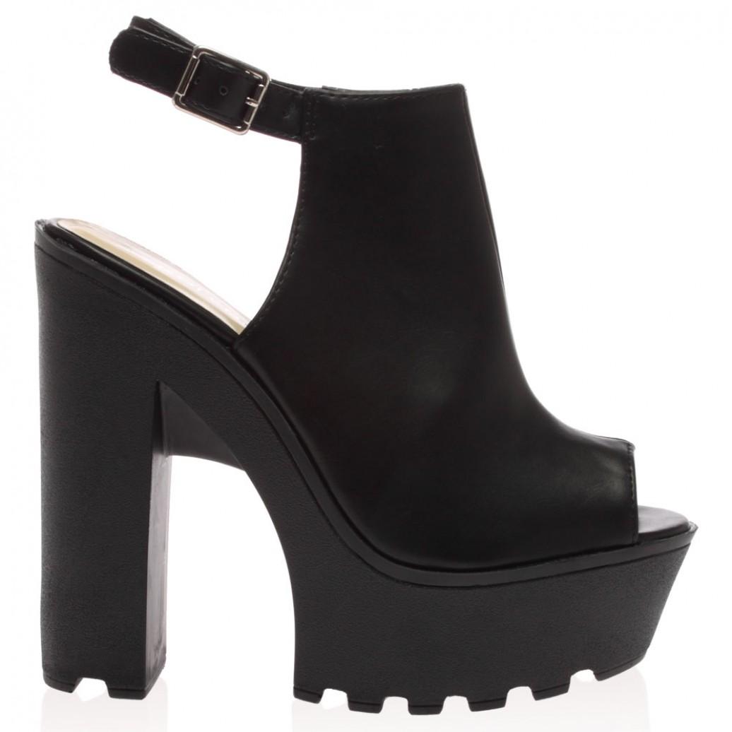 Harper black pu high heeled cleated sole platforms