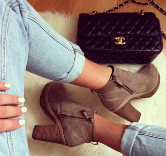 shoes boots ankle boots nude nude boots brown boots bag jeans chanel chanel bag tan boots
