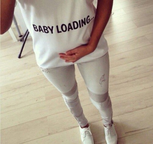 white shirt baby clothing loading teen mom maternity
