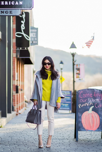 fastfood&fastfashion blogger jacket top sweater shoes skirt fall outfits yellow sweater handbag pumps