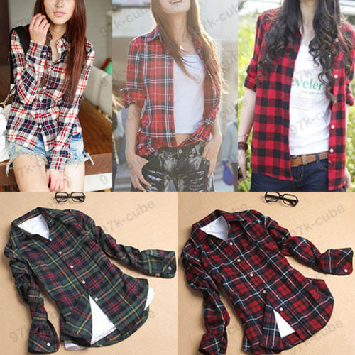 Women Button Down Casual Lapel Shirt Plaids Checks Flannel Shirt Top Blouse 3820
