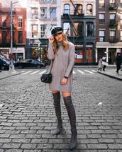 dress,tumblr,knit,knitwear,knitted sweater,knitted dress,sweater dress,fisherman cap,boots,grey boots,bag,black bag