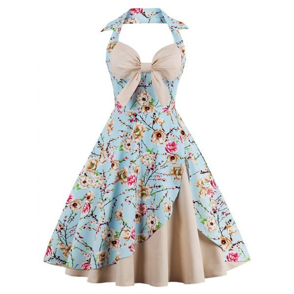 Rosewholesale Halter Vintage Floral Print Pin Up Dress