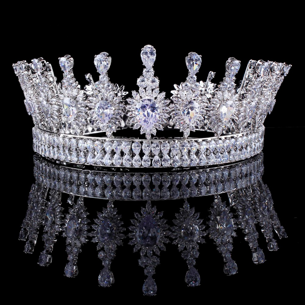 US $107.99 10% OFF|Luxury Zircons Elegant Marquise Cut Cubic Zirconia Flower Bridal Wedding Queen Crown Tiara Hair Jewelry For Brides-in Hair Jewelry from Jewelry & Accessories on Aliexpress.com | Alibaba Group
