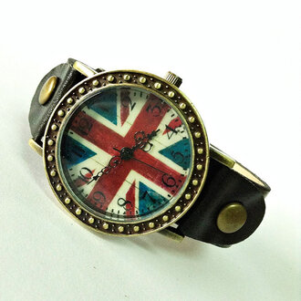 fashion jewels watch style accessories leather watch uk flag british flag