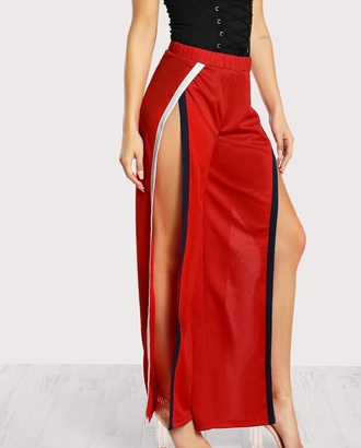 pants girly red track pants side split