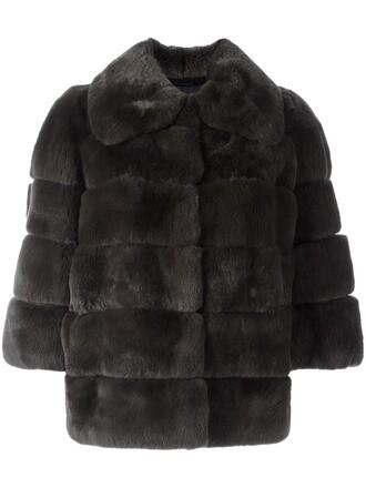 jacket fur jacket fur women silk grey