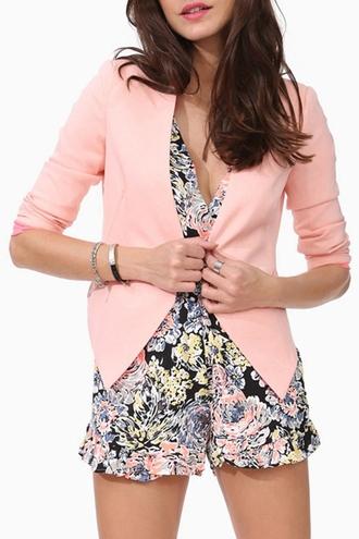 jacket blazer zaful pastel pastel pink chic stylish fall outfits pink blazer romper dress floral