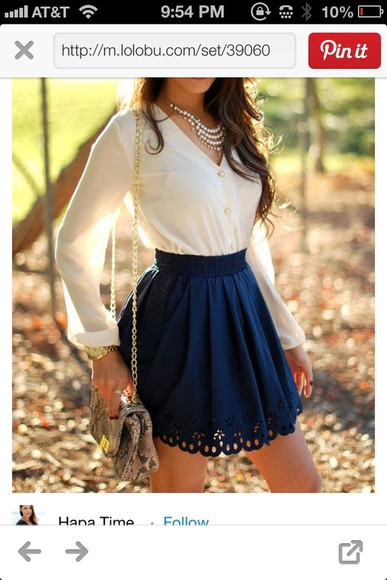 navy blue dress white skirt white button up top flowers