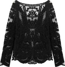 Fashion New Black Long Sleeve Lace Blouse