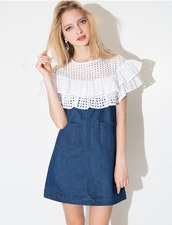 dress,shift dress,cute,summer,summer dress,denim,eyelet,eyelet lace,pockets,denim dress,ruffle,pixie market,pixie market girl