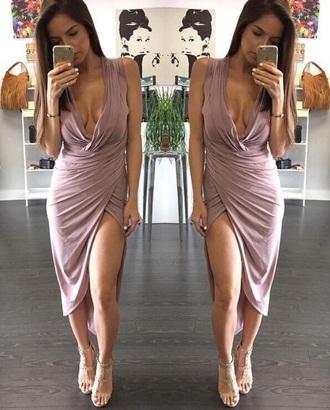dress nude dress pink pink dress droopy asmmetric slit slit dress v neck dress v neck purple lavender beautiful sexy cleavage dress