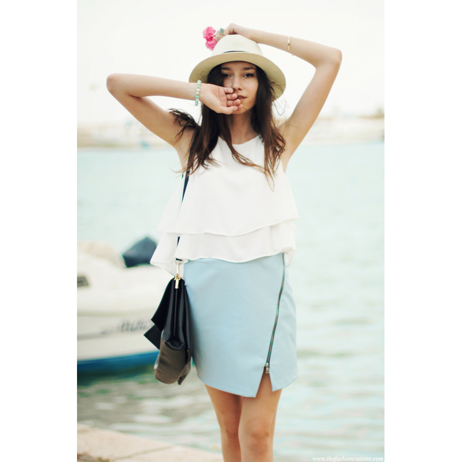 Layered Chiffon Crop Top in White - Retro, Indie and Unique Fashion