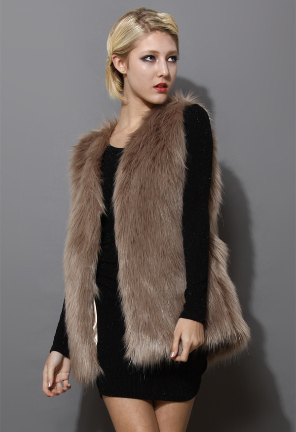 coat mid-length brown faux fur vest