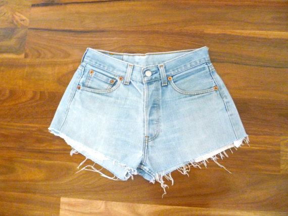 Light Blue High Waisted Denim Shorts // by HappyMondayVintage