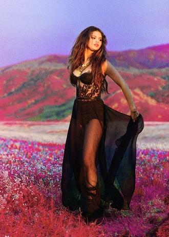 dress selena gomez black sheer see through lace bralette bodysuit