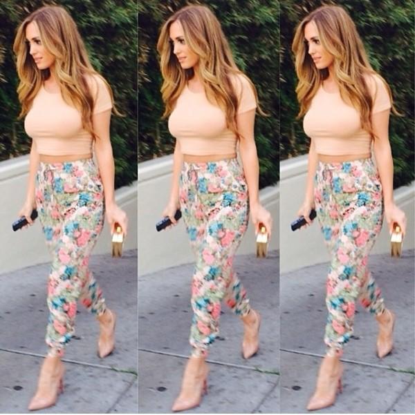 pants floral pants bright novalabelle shoes shirt