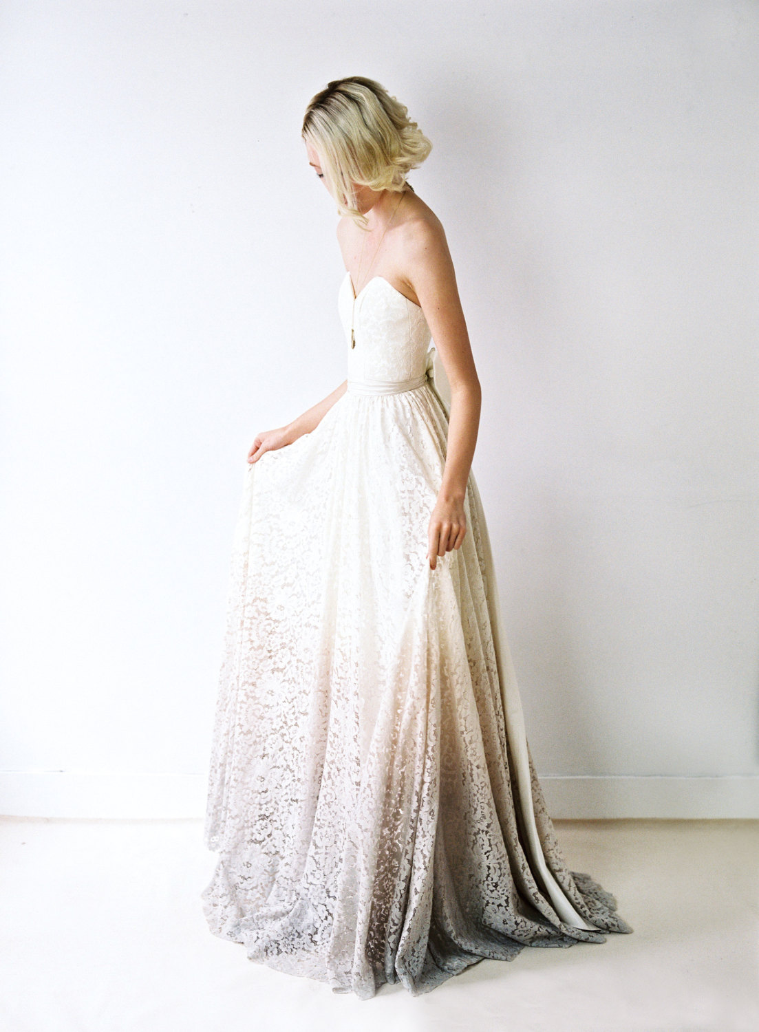 Dyed, lace wedding gown