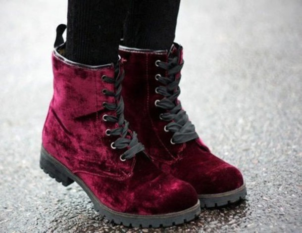 shoes burgundy velvet boots boots combat boots velvet