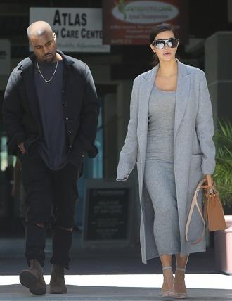 coat grey grey coat winter coat fall jacket kim kardashian fashion trendy perfect combination perfection dress
