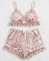 underwear,girly,pink,velvet,crushed velvet,two-piece,crop tops,crop,cropped,shorts,lace,matching set,lounge wear