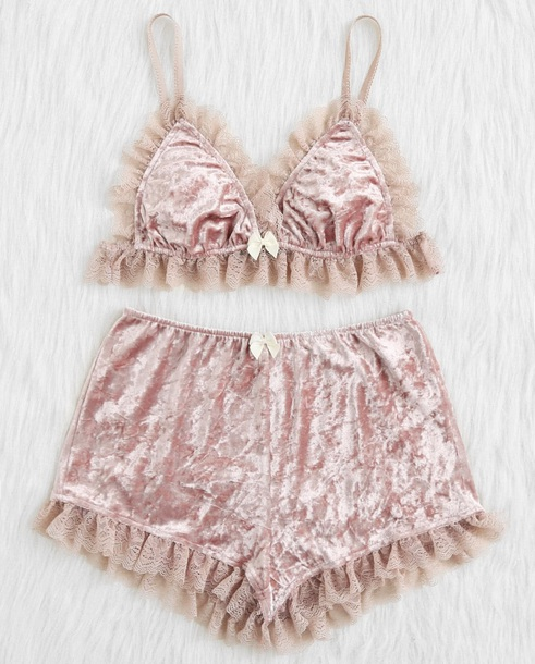 underwear girly pink velvet crushed velvet two-piece crop tops crop cropped shorts lace matching set lounge wear