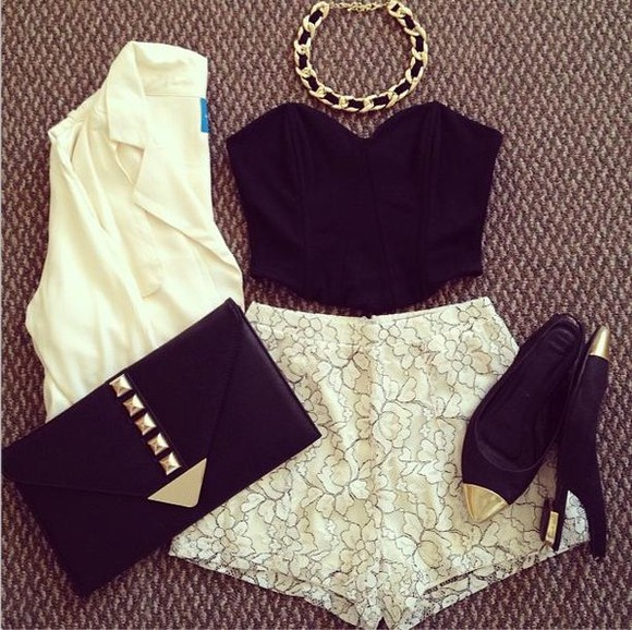 tank top black shorts white golden fashion corset tanktop accessorise hot shoes bag bralet bags gold necklace blazer pumps lace flowers floral bustier clutch jewels jacket nail polish shirt crop tops girly beige black, white, dressy, neat lace shorts black lace bustier