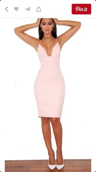 dress bodycon baby pink ivory dress deep v neck sexy dress strappydress knee length dress pink dress tight bodycon dress blush pink