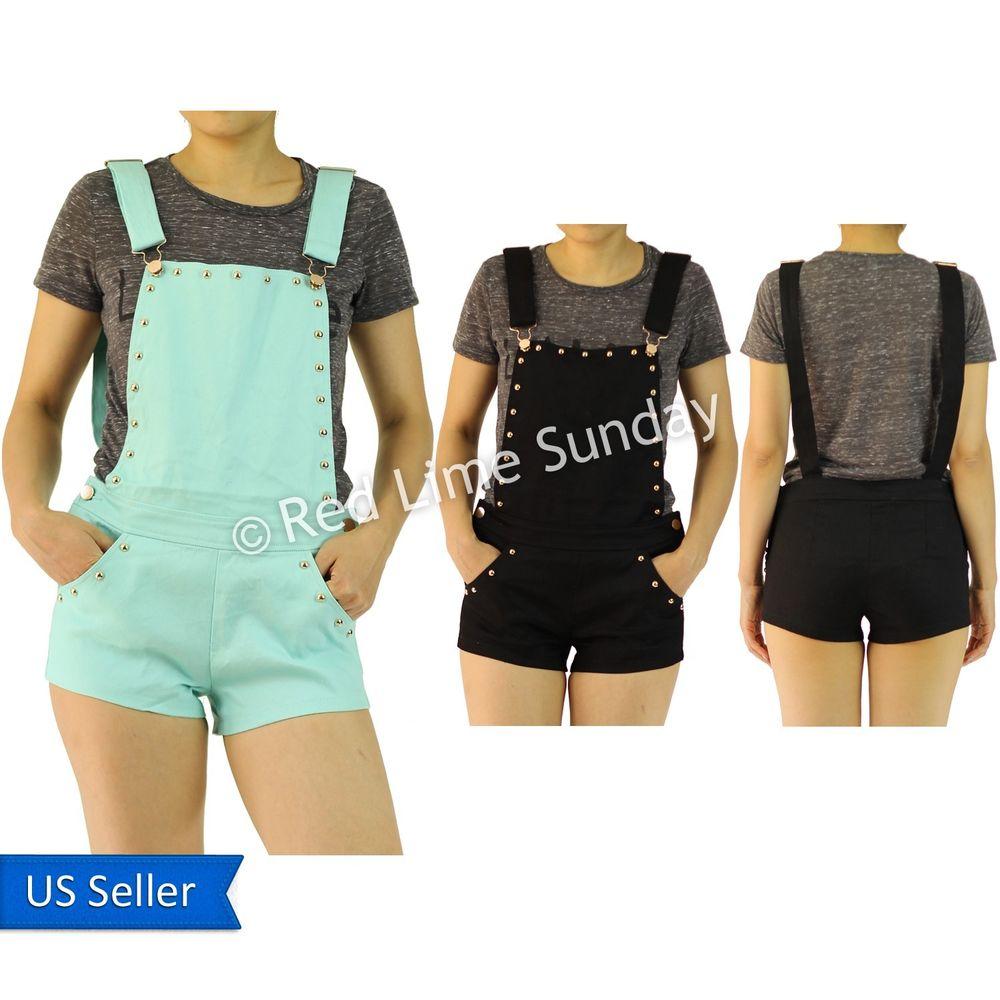 New Women Cute Girly Black Mint Overall Bib Romper Jumper Short Pants w/ Pockets