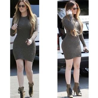 khloe kardashian bodycon dress long sleeve dress kardashians shoes