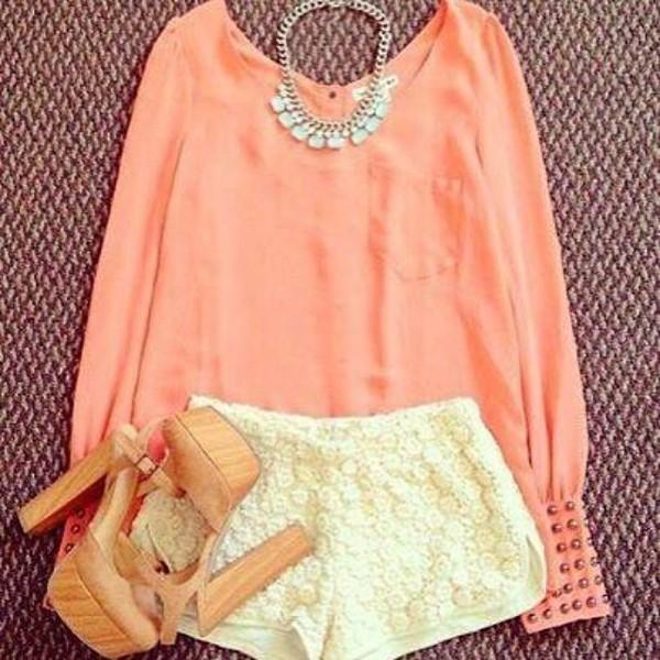 shorts blouse shirt coral shirt