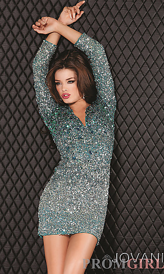 Prom dresses, celebrity dresses, sexy evening gowns at promgirl: short green sequin dress with sleeves
