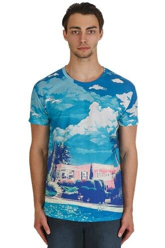 t-shirt blue print menswear fusion blue top printed t-shirt hipster menswear light blue