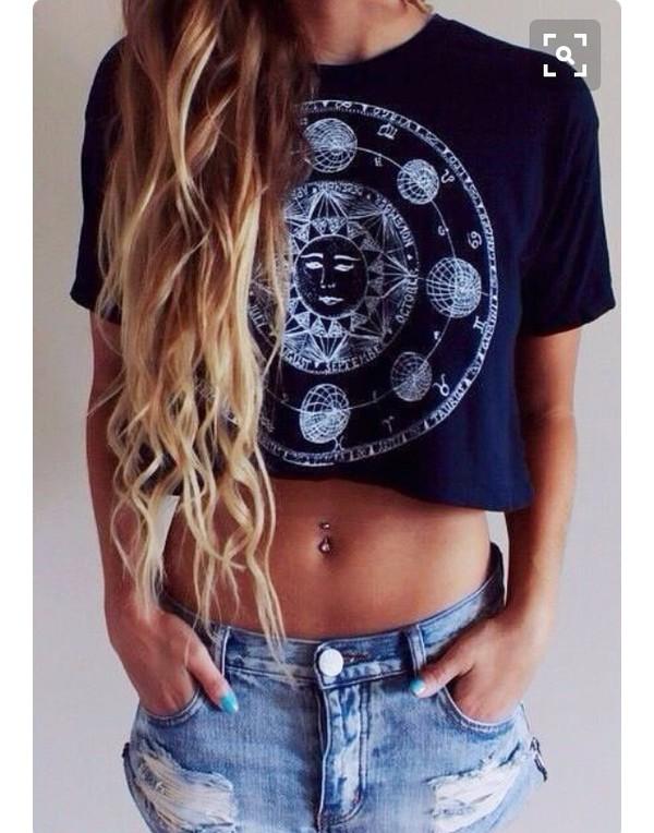 shirt crop tops black t-shirt zodiac signs sun