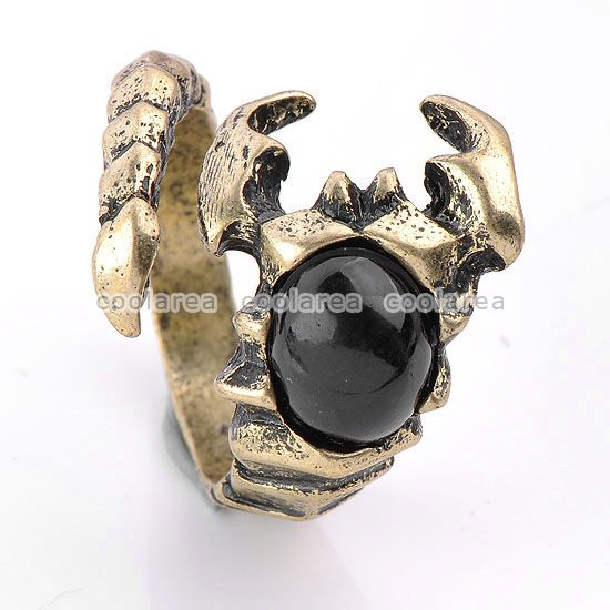 Colors Vintage Black Resin Mens Scorpion Ring S7 5 Clamp Punk Gothic