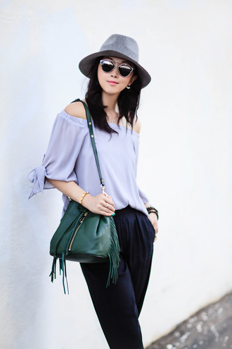 fit fab fun mom blogger top pants shoes bag hat sunglasses jewels blue off shoulder top felt hat grey hat dior so real dior sunglasses dior fringed bag green bag bucket bag blue top off the shoulder off the shoulder top black pants