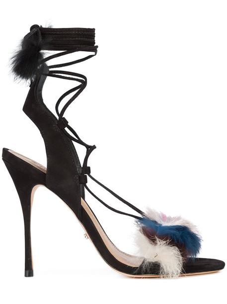 Schutz women sandals leather suede black shoes