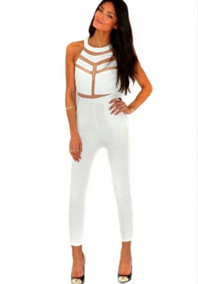 White patchwork grenadine irregular long jumpsuit