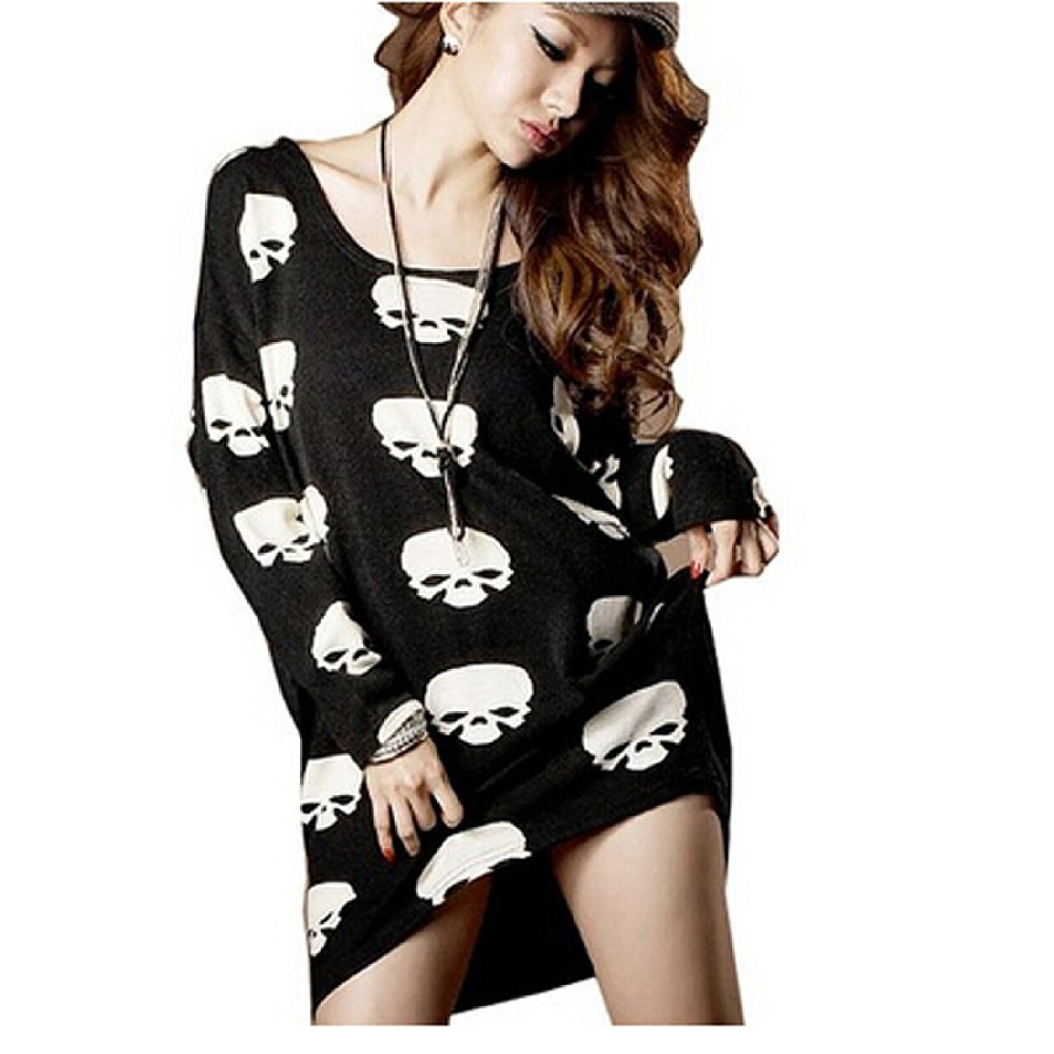 Amazon.com: women skull head pattern punk irregular slim fit base t