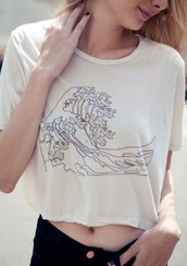 t-shirt,famous painting,wave,drawing,indie,black and white,sailor,japanese,ocean,graphic tee