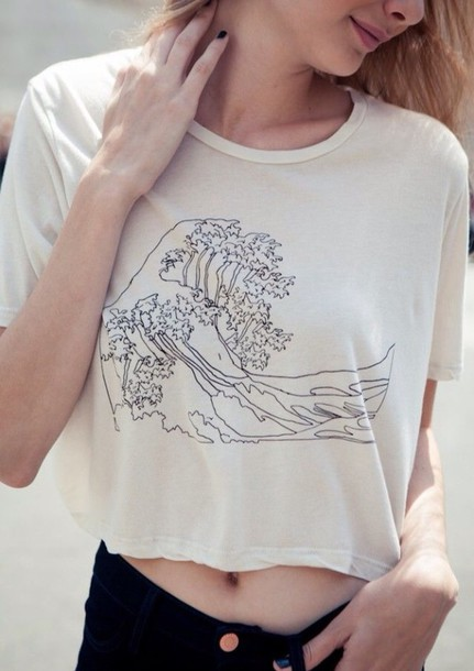 t-shirt famous painting t-shirt wave drawing indie black and white sailor japanese ocean graphic tee