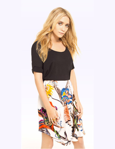mary kate olsen floral skirt white skirt