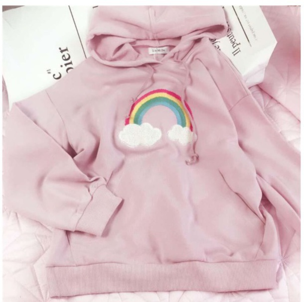 jacket girly pink sweater sweatshirt hoodie rainbow