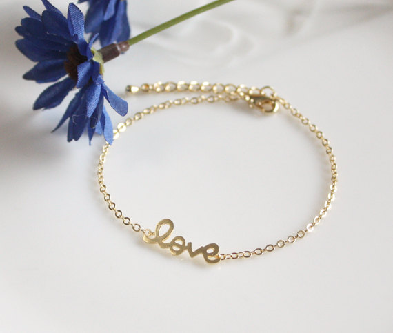 Love bracelet in gold by LaSenada on Etsy