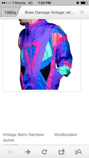 jacket vintage colorful zipup windbreaker